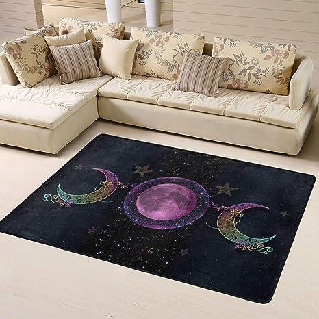The Triple Moon Goddess Wiccan Modern Area Rug Floor Carpet Bathroom Mat Yoga Mat For Kitchen Living Bedroom Gaming Room Home Decor Kitchen Dining