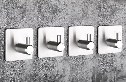 Gancho de pared de 4 piezas, Gancho autoadhesivo de acero inoxidable para 3M Gancho de ropa de pared, suspensión de pared de baño