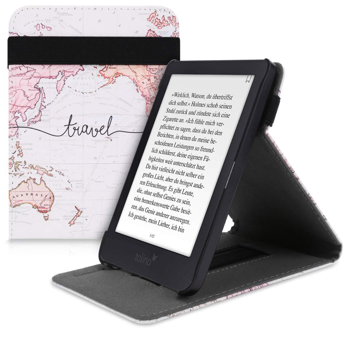 kwmobile Funda para Tolino Shine 3 - Carcasa con Tapa Vertical y Soporte para e-Book - Case Flip de Cuero sintético