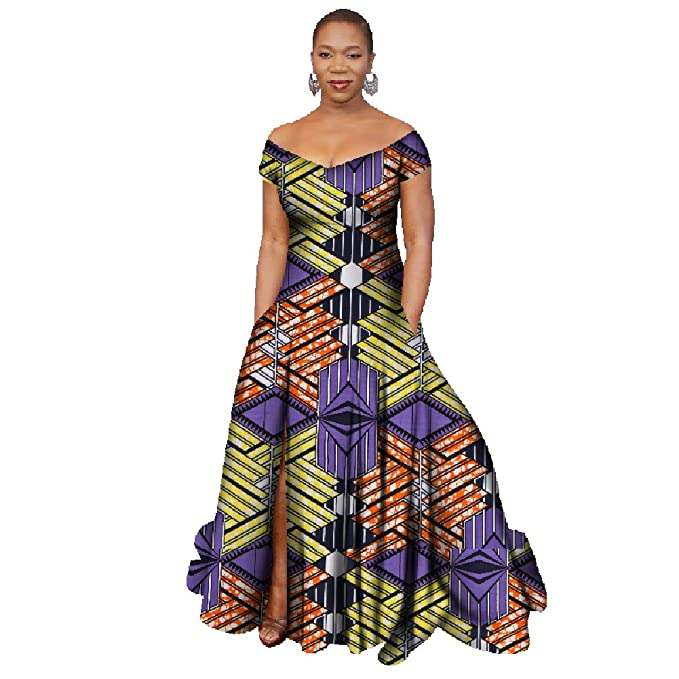 1a4ed8da07f Women s Stylish African Print Dress Split Off Shoulder Mermaid Formal Prom  color7 XL