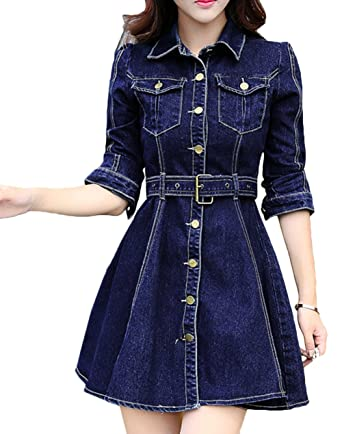 Scothen Damen Jeanskleid Hemdblusenkleid Tunika Jeans Bluse
