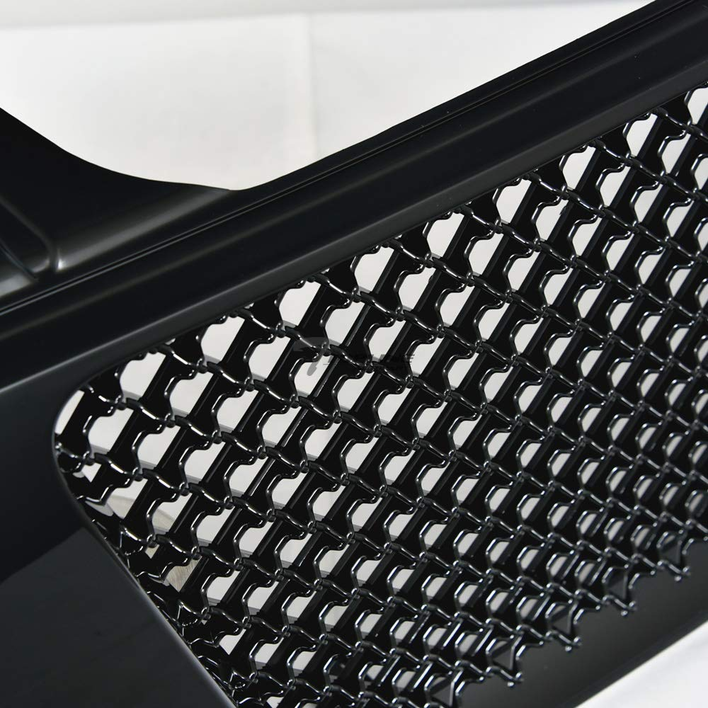 04//05-07 Armada Topline Autopart Black Mesh Front Hood Bumper Grill Grille ABS For 04-07 Nissan Titan