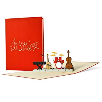 Birthday Card For Musicians And Music Lovers 3D Pop Up Inventive Voucher A