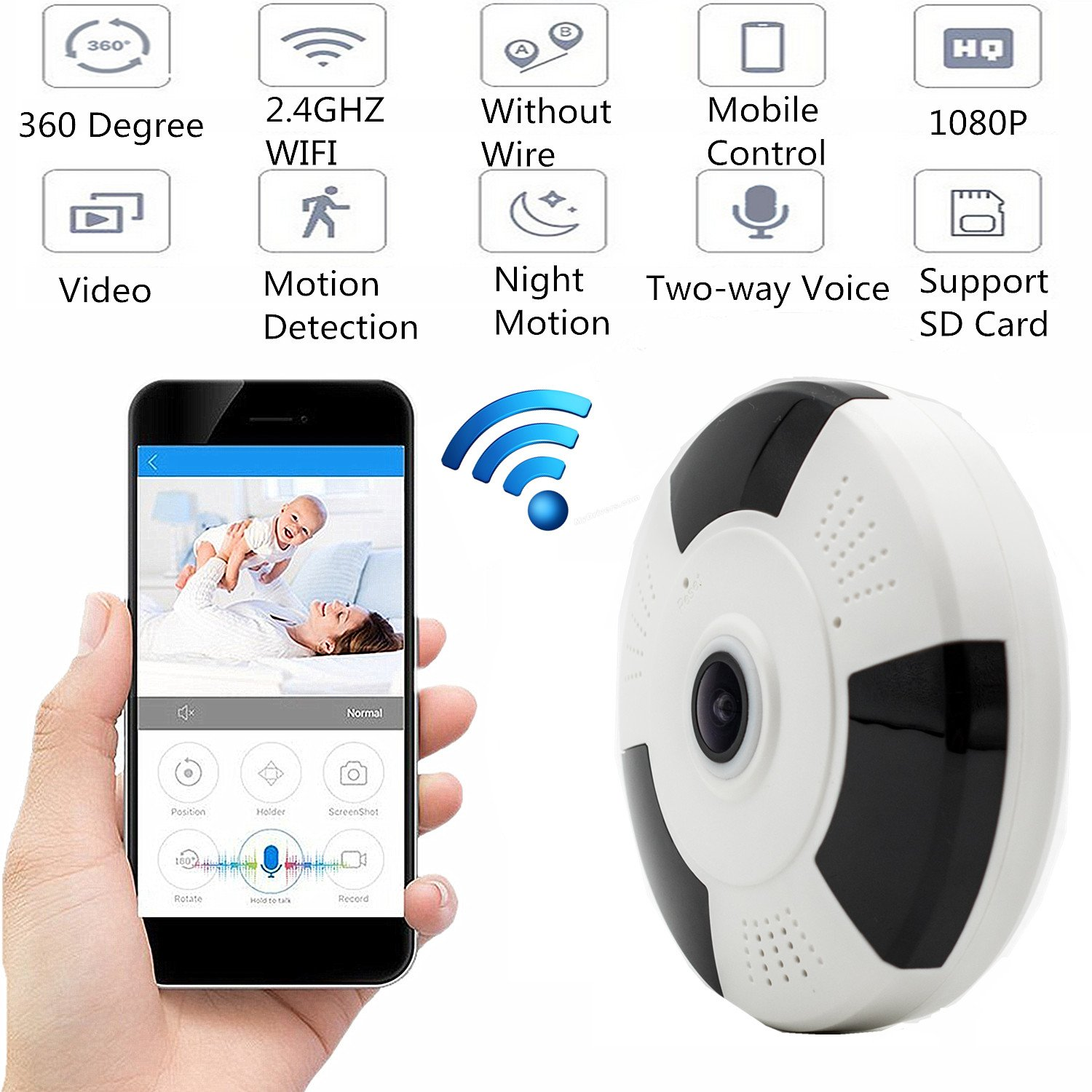 Reching Home Camera HD 1080P IP Camera Wireless WIFI Security Network Camera,360° Security Monitor System with Nightvision/2 Way Audio/Motion Detection Smart View - All vision