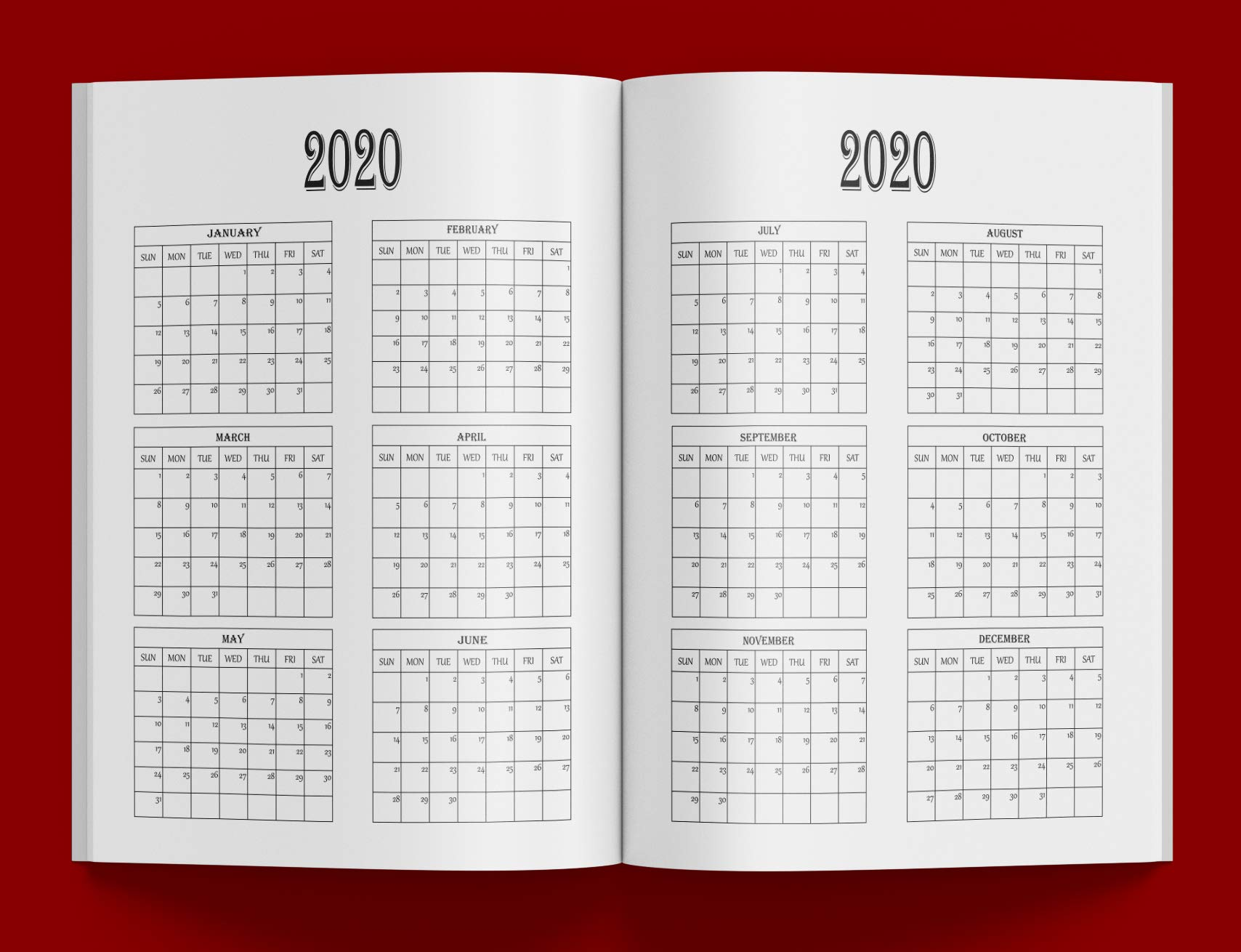 2020-2024 Five Year Planner And Calendar: Long-Term 60 Month ...
