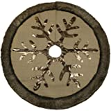 """Valery Madelyn 48"""" Woodland Collection Burlap Tree Skirt with Faux Fur Trim Border"""