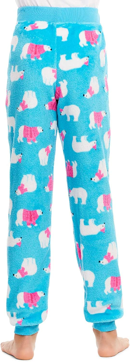 Girls Plush Pajama Bottoms Fleece Print Jogger Sleep Pants