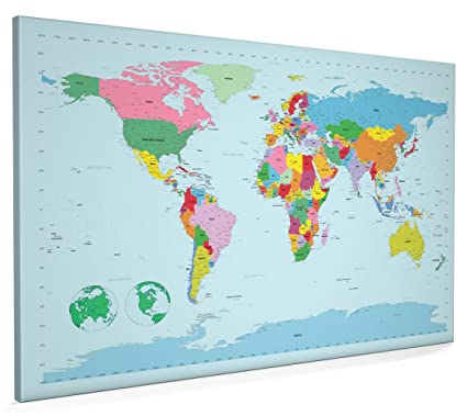 Map of the World Canvas Art Print, 22x34 inch (A1) - 298: Amazon.co ...