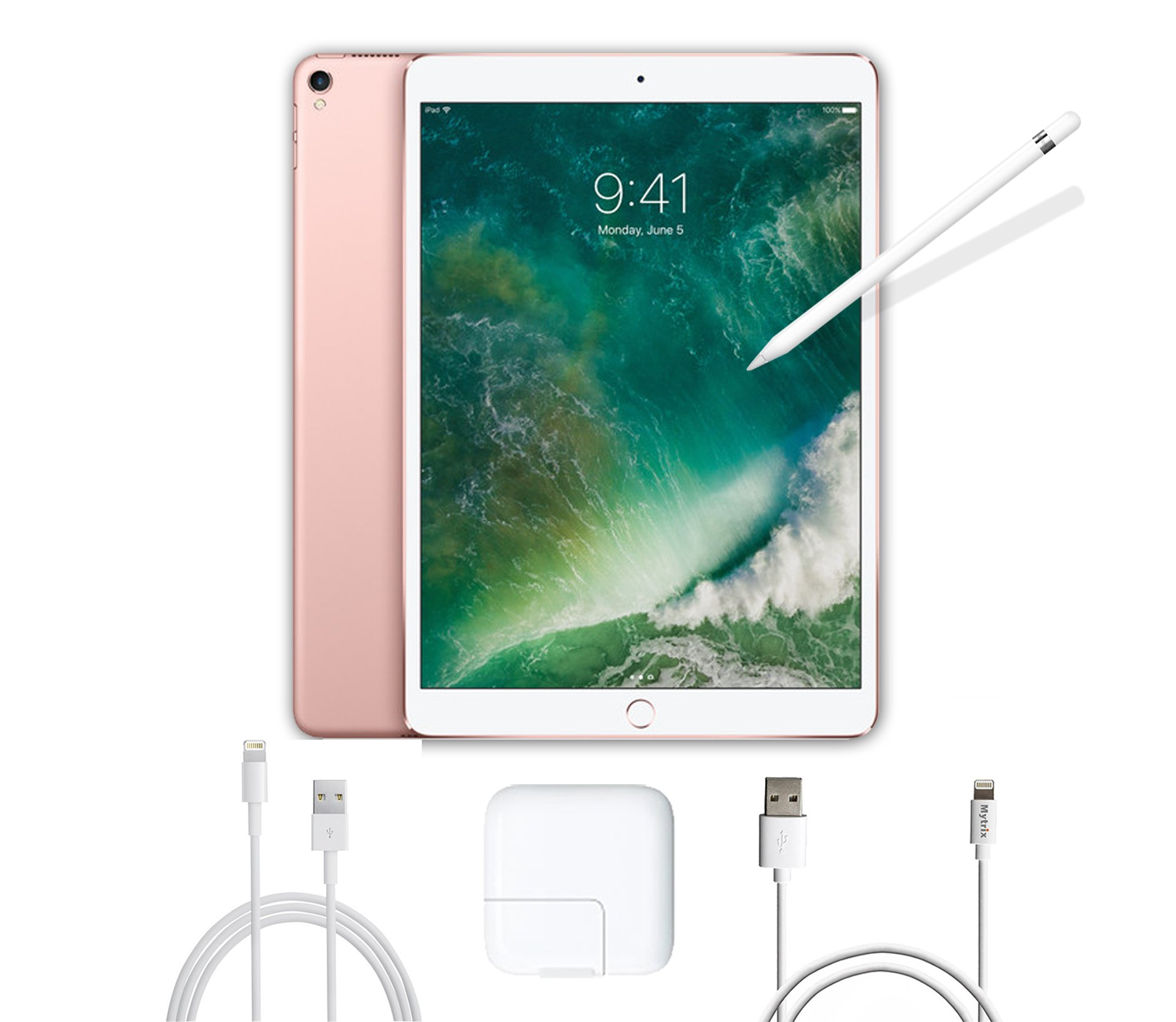 2017 New IPad Pro Bundle (3 Items): Apple 10.5 inch iPad Pro with Wi-Fi, Apple Pencil and Mytrix USB Apple Lightning Cable (512, Rose Gold) by Apple&ShopMall