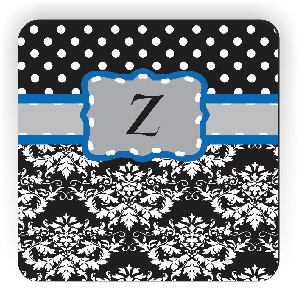 Grey//Blue//Black Rikki Knight Initial Z Damask Dots Design Square Fridge Magnet