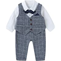 famuka Boy Suit Set with Bowtie Baby Plaided Outfit Toddlers Formal Clothing