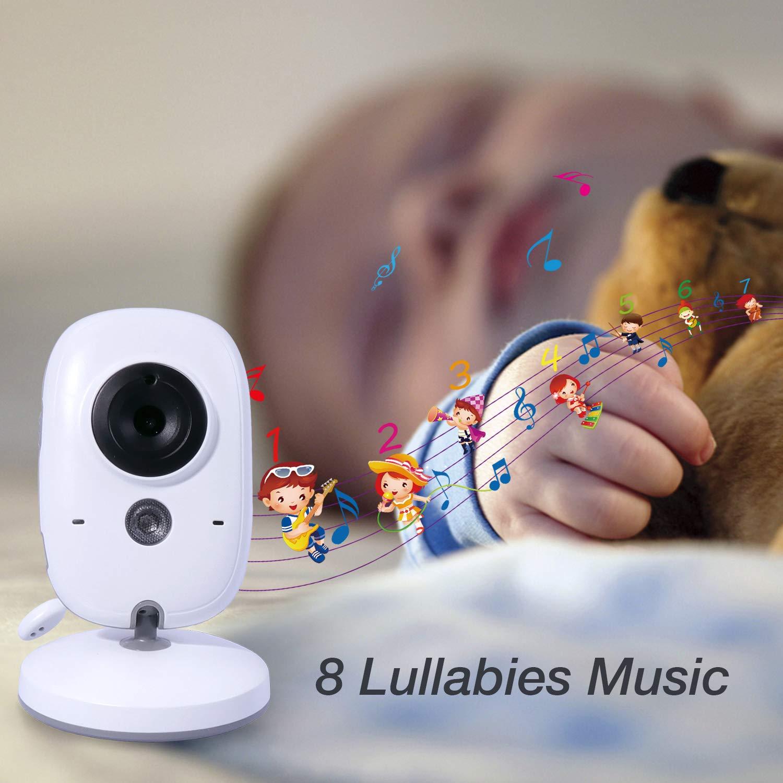 ANNEW Vigilabeb/és con c/ámara Video Audio Monitor Sensor de temperatura Visi/ón nocturna Canci/ón de cuna Conversaci/ón bidireccional VB601-EU