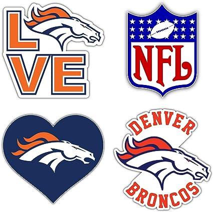 Denver City Bronco Football Logo Die-Cut Decal Sticker 5 Longer Side Set of 4 Pieces