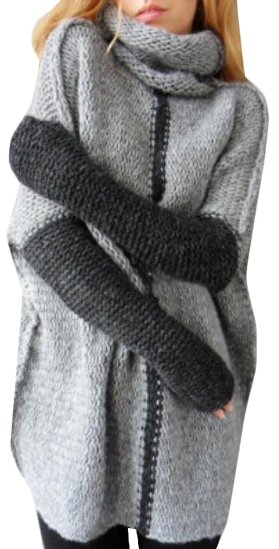 Vska Womens Leisure Turtleneck Pullover Elastic Knitting Sweater