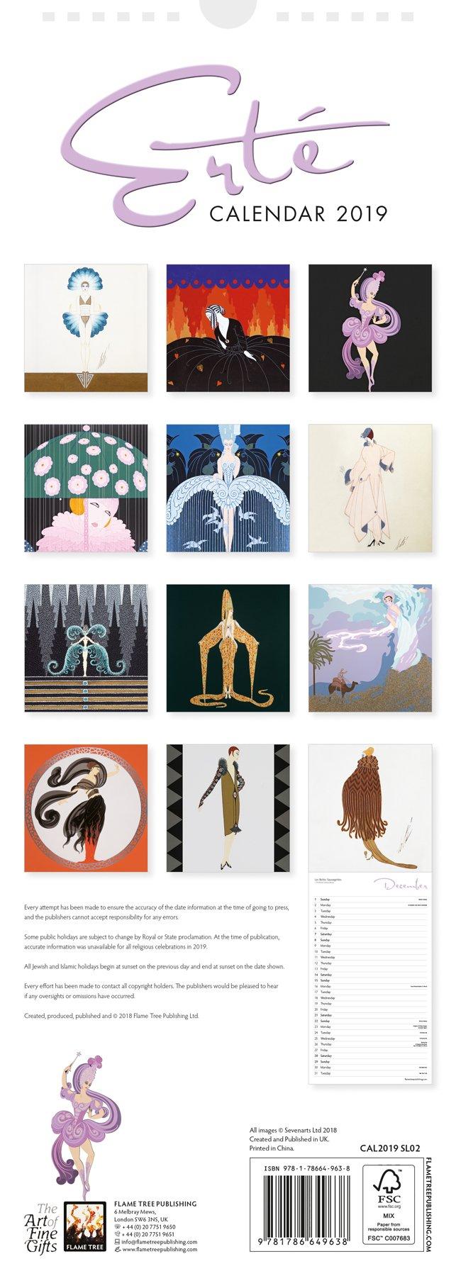 8c53da808ca Erté slim calendar 2019 (Art Calendar)  Flame Tree Studio  9781786649638   Amazon.com  Books