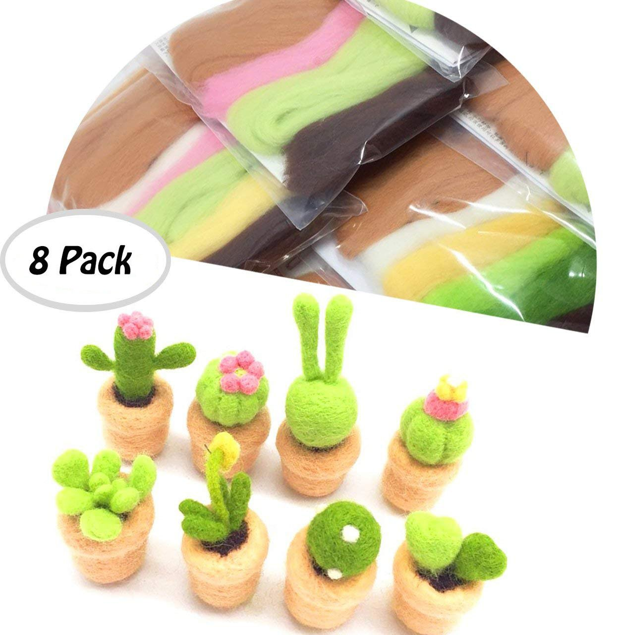 Felting Wool, Misscrafts 8 Pack Wool Roving Fibre Needle Felting Supplies in Succulent Plant Shapes with Felting Tool Kit and Instructions for DIY Felting Craft Beginner Set