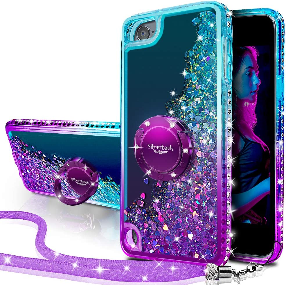 Silverback iPod Touch 7 Case, iPod Touch 6 Case, iPod Touch 5 Case, Girls Women Moving Liquid Holographic Glitter Case with Kickstand,Bling Diamond Case for Apple iPod Touch 6th / 5th 7th Gen -PR