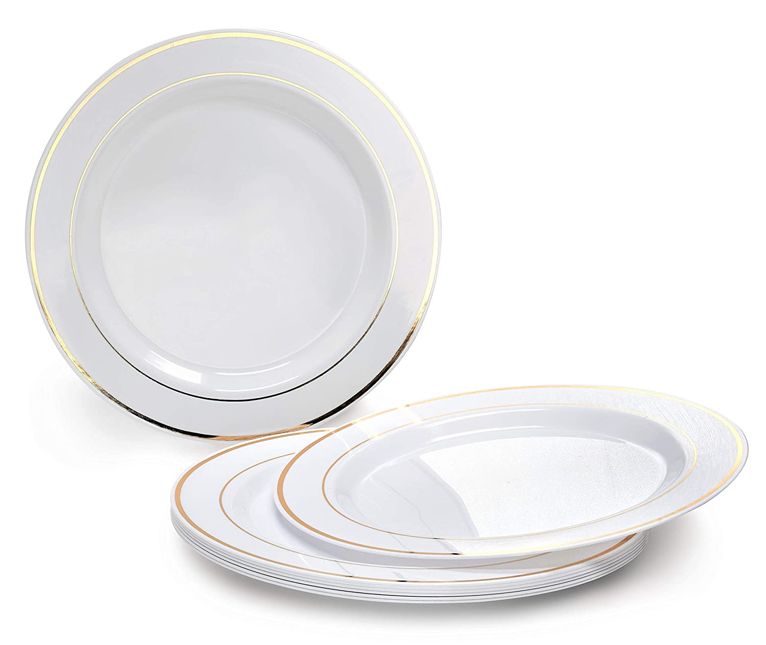 Plastic Wedding Plates.Occasions 120 Plates Pack Heavyweight Disposable Wedding Party Plastic Plates 10 5 Dinner Plate White Gold Rim