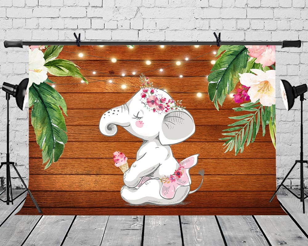 LYLYCTY 7x5ft Cute Little White Elephant Background Pink Skirt Flowers Under The Brown Background Plate for The Childrens Party Personal Photo Photography Background Props LYZY0597