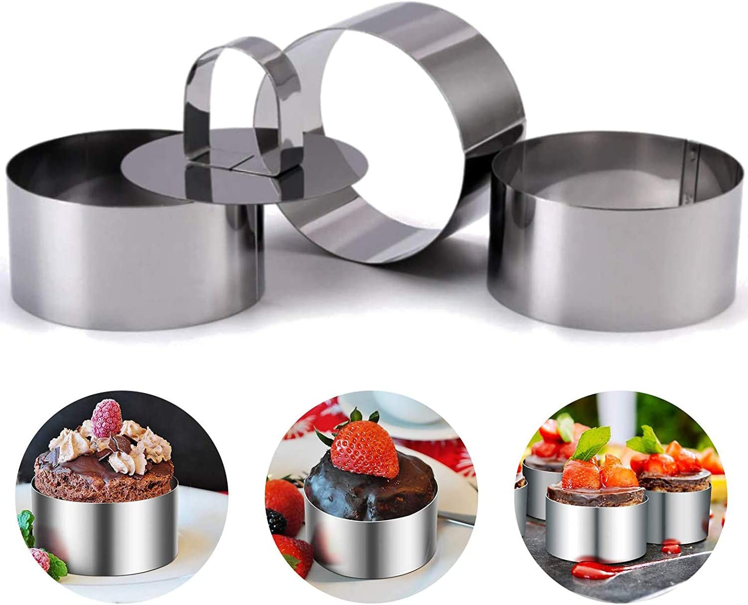 Set of 4 - Round Stainless Steel Small Cake Rings - Mousse Cake Molds and Pastry Mini Baking Ring - Food Ring Mould Dessert Rings Set for Pastry Cake Baking-Set of 4 with 4 Pusher