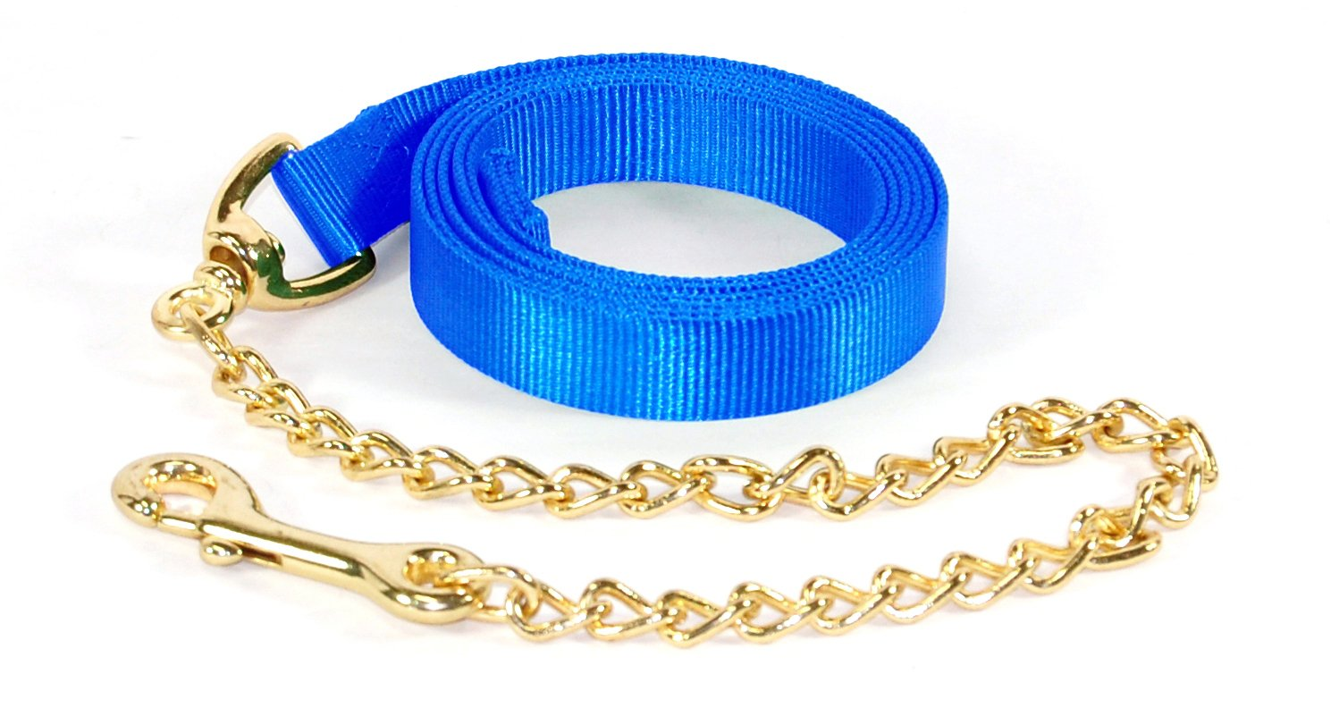 Hamilton 7-Feet Single Thick 1-inch Nylon Horse Lead with 24-inch Chain with Snap bluee