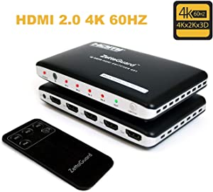 Zettaguard Upgraded 4K 60Hz 4x1 HDMI Switcher 4 port HDMI 2.0 Switch Hub HDMI Splitter with IR Remote Control Support 18Gbps 4K x 2K 3D HDCP 2.2(4 In 1 Out)