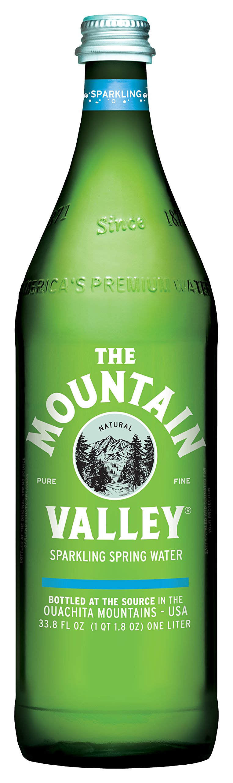 THE MOUNTAIN VALLEY NATURAL PURE FINE Sparkling Spring Water 1 L. Pack of 12