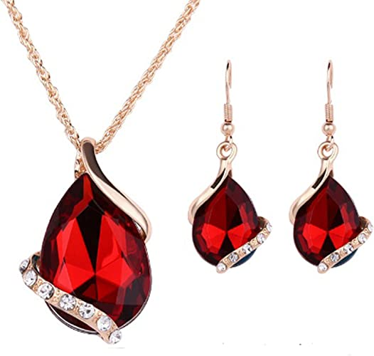 IzuBizu London Womens 925 Sterling Silver Gold Ruby Red Necklace and Earrings Tear Drop Burgundy Oval Wedding Pendant
