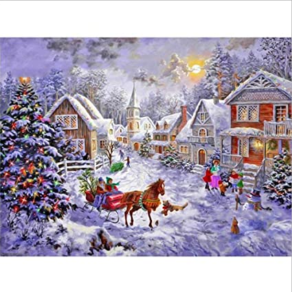 clearance sale 5d diamond painting rhinestone snow small town christmas crowd embroidery wallpaper diy wall sticker - Small Town Christmas