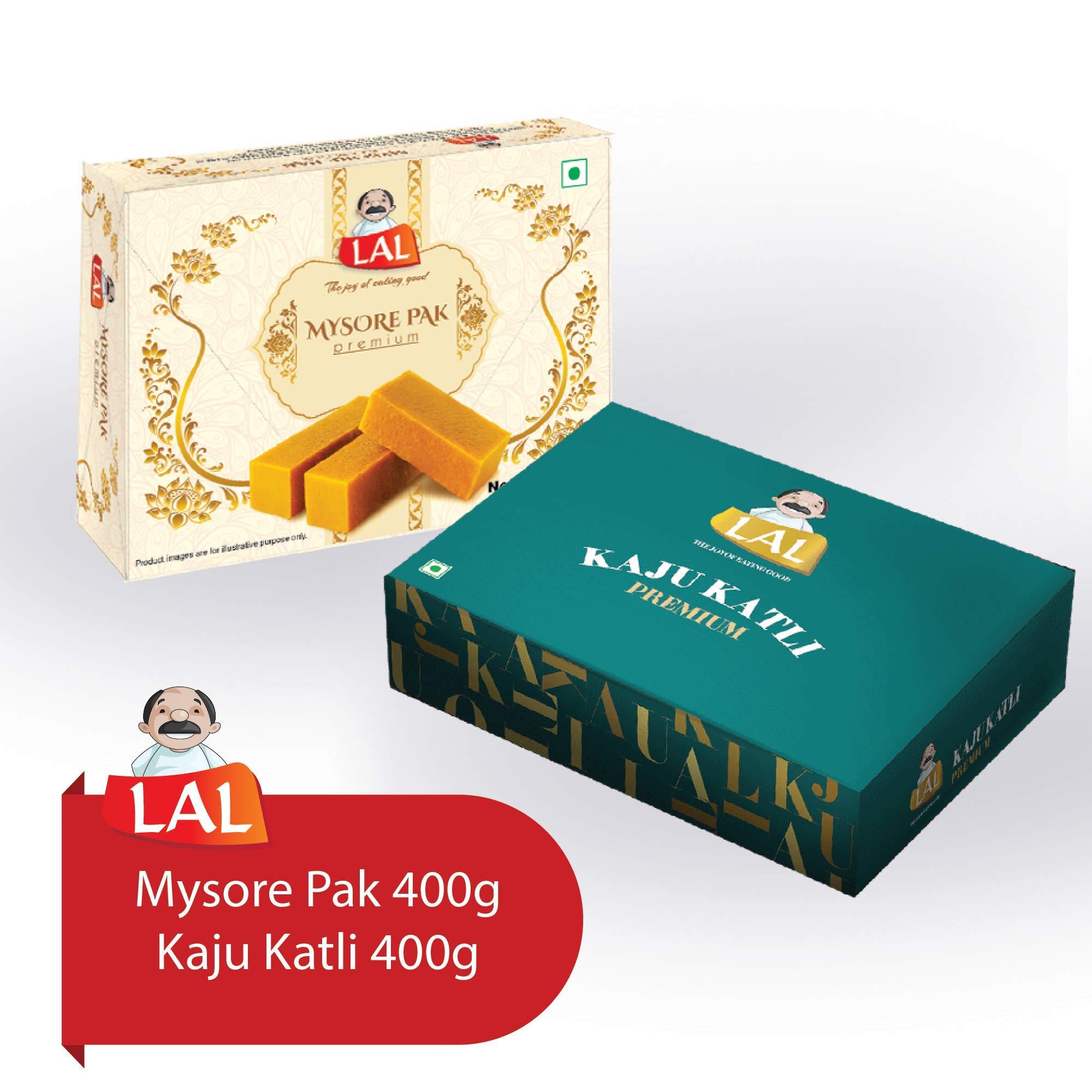 Lal Sweets Combo Pack of Mysore Pak 400 g and Kaju Katli 400 g