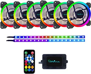 Apevia ST6P2-RGB Spectra 120mm Silent Dual Ring Addressable RGB Color Changing LED Fan with Remote Control, 16x LEDs & 8X Anti-Vibration Rubber Pads w/ 2 Magnetic Addressable LED Strips (6+2-pk)