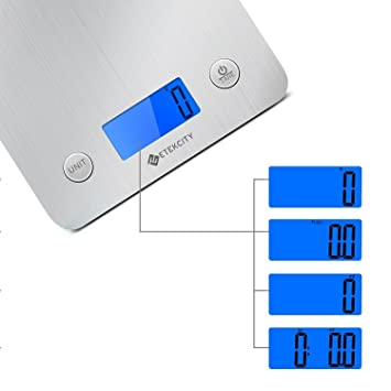 etekcity digital food kitchen scales electronic stainless steel weighing cooking scales with 30 larger platform backlight display 11lb 5kg