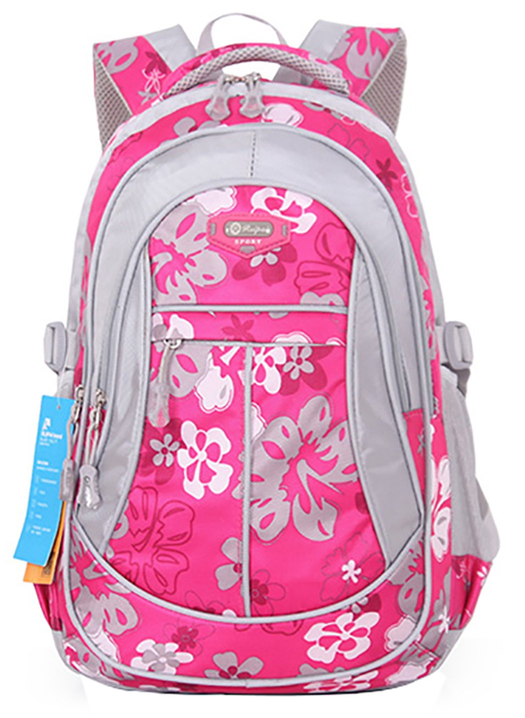 JiaYou Girl Flower Printed Primary Junior High University School Bag Bookbag Backpack Style A Rose 24 Liters