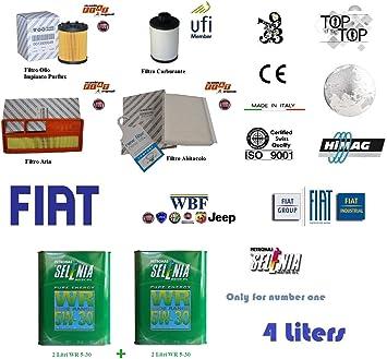 KIT FILTRI TAGLIANDO FIAT PANDA 1.3 JTD MULTIJET 16V 55KW 75CV 169A1000 03//10-/>