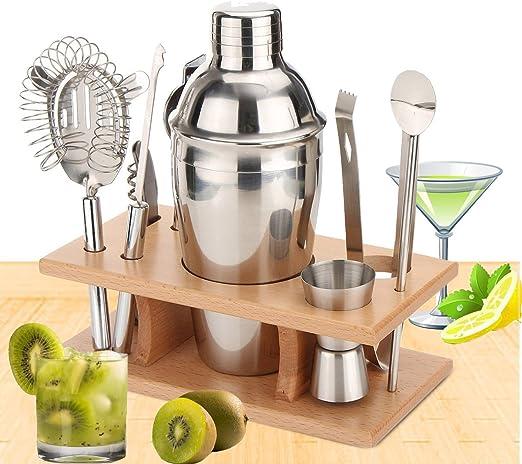 Compra 9er Pack Coctelera Set sanva Contiene con coctelera 350/550/750ml Medidor para cócteles + + Cóctel Colador + pinzas para hielo + abrebotellas + cuchara + Cuchillo + rack de madera en Amazon.es