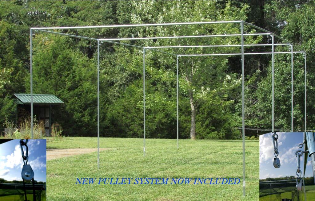 Batting Cage Frame Kit 12' x 12' x 55' EZ UP & Down Baseball Softball Frame Kit by Jones-Sports