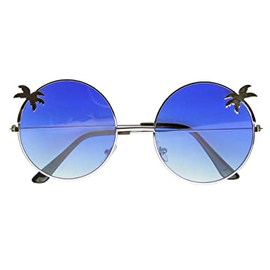 cca583a8263 Emblem Eyewear - Indie Palm Tree Gradient Lens Round Hippie Sunglasses  (Blue)