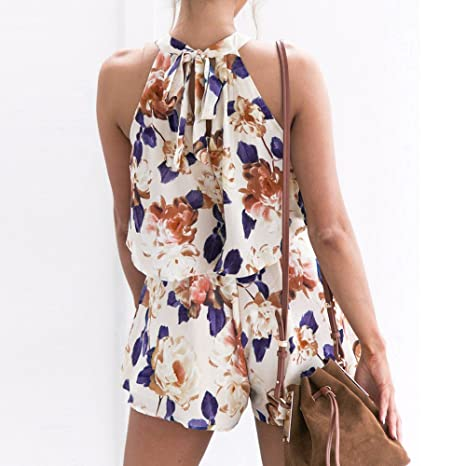cce4cff636aa Amazon.com  Women Rompers Floral Sleeveless Casual Tops Shorts Two Piece  Outfits Jumpsuits Playsuits  Clothing
