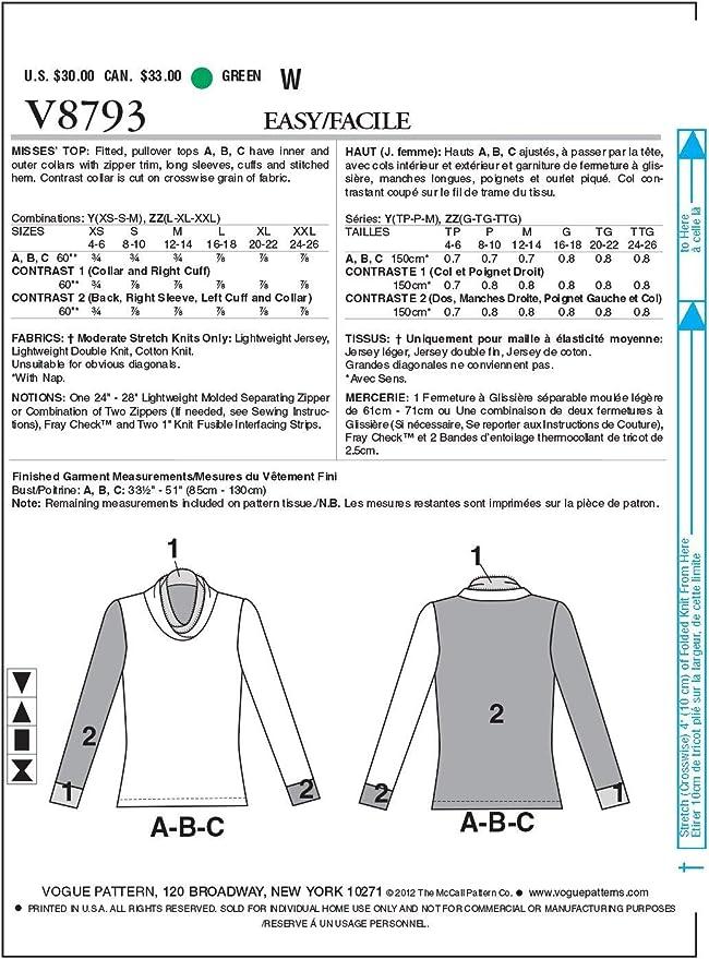 Size Y Vogue Patterns V8793 Misses Top XSM-SML-MED