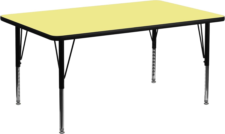 Flash Furniture 24''W x 48''L Rectangular Yellow Thermal Laminate Activity Table - Height Adjustable Short Legs