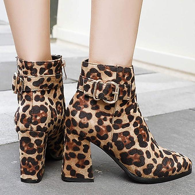 WORMENG - Botas Bajas de Piel de Leopardo y Negro de tacón de 8 cm, con Cremallera para Invierno Amarillo 43: Amazon.es: Ropa y accesorios