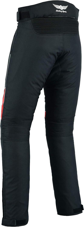 Pantalones de motociclismo//moto blindados impermeables negro//rojo para hombre