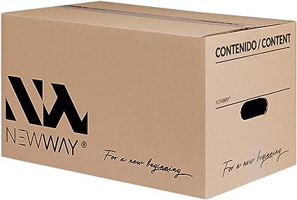 Pack 20 cajas de cartón para mudanza y almacenaje 430x300x250mm con asas fabricadas en España con cartón ecológico altamente resistente una capa CALIDAD BASIC: Amazon.es: Oficina y papelería