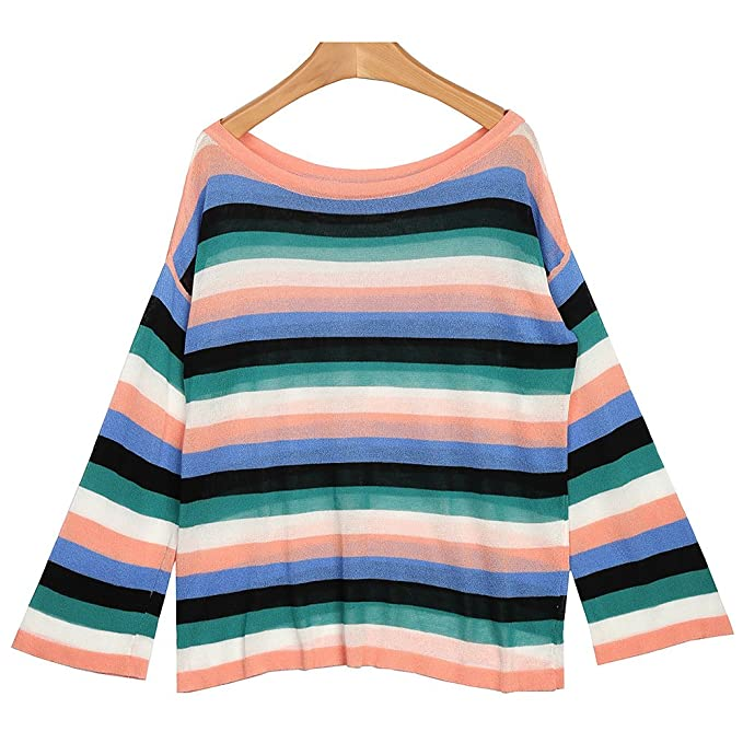 VB Tejido jersey de manga larga de cuello redondo Stripes Bump color ...