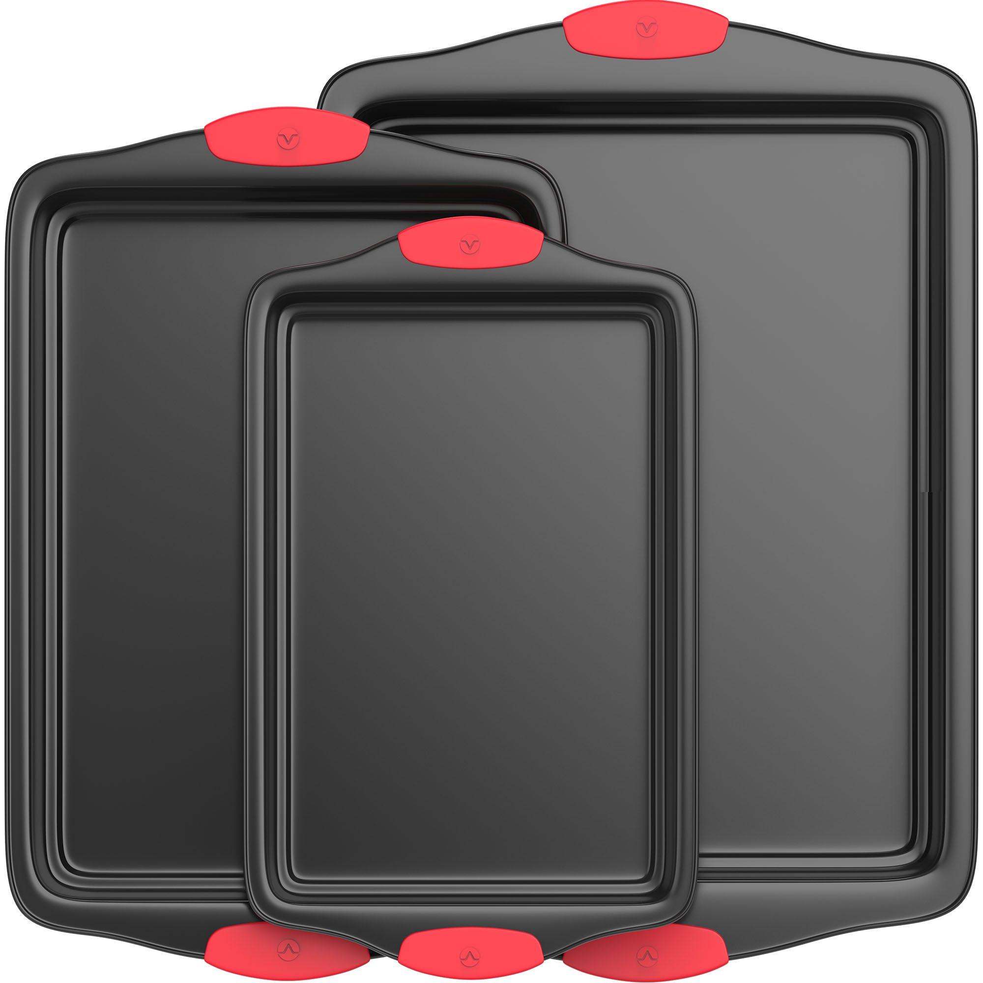 Vremi 3 Piece Baking Sheets Nonstick Set - Professional Non Stick Sheet Pan Set for Baking - Carbon Steel Baking Pans Cookie Sheets with Red Silicone Handles - has Quarter and Half Sheet Pans by Vremi (Image #5)