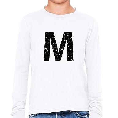56bfe4b30317 Hollywood Thread Monogram - M - Letter In Stately Black Girl's Long Sleeve T -Shirt