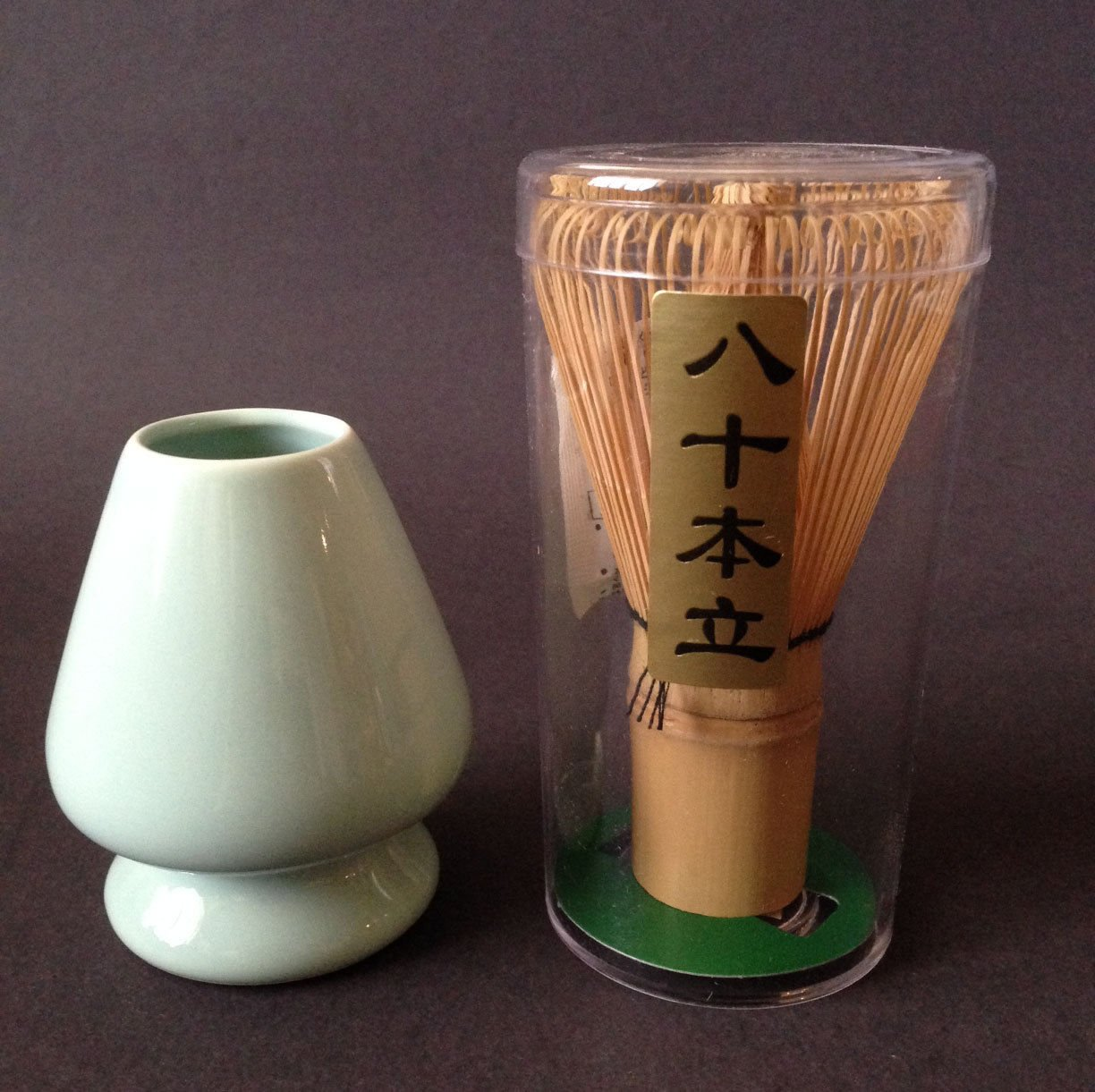 Japanese 80 Prong Matcha Tea Ceremony Bamboo Whisk Chasen Brush with Stand Shaper