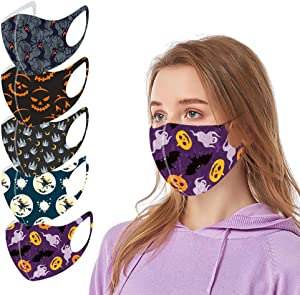 5PC Halloween Face Protection for Adults Reusable Washable Colorful Face Bandanas Masquerade with Elastic Strap Earloops Breathable Dustproof for Women and Men Office Daily Use