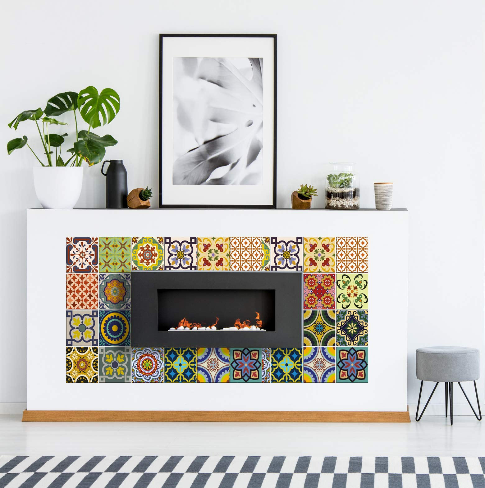 Tile Stickers 24 PC Set Traditional Talavera Tiles Stickers Bathroom & Kitchen Tile Decals Easy to Apply Just Peel & Stick Home Decor 6x6 Inch (Kitchen Tiles Stickers C1) by Alma-Art (Image #9)