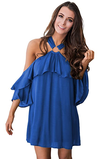 Ladies Royal Blue Cold Shoulder volantes vestido Club Wear fiesta Casual talla S UK 8 –